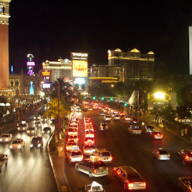 Vegas Night by Shelley Schmidt - City,  Street & Park  Street Scenes ( night life, street, night, city street, vegas )