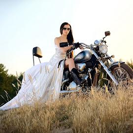 Ket&Bike by Max Feshchenko - People Fashion ( bike, girl, sunset )