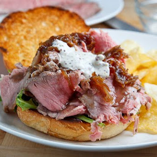 Roast Beef Sandwich with Caramelized Onions and Grainy Mustard, Horseradish Mayo