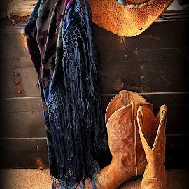 Cowgirl Fringe by Gwen Short - Artistic Objects Clothing & Accessories ( afteroz, cowboy, driftwood, trunk, shawl, cowgirl, burnout velvet, fringe, boots, hat, country )