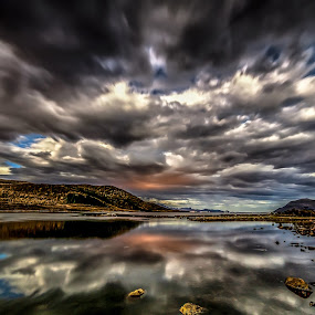Rough clouds by Benny Høynes - Landscapes Weather ( clouds, sky, speed, lake, fjord, norway )