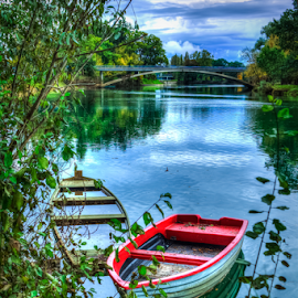 Hidden in the bushes by Oliver Švob - Transportation Boats ( canon, water, korana, karlovac, croatia, bush, bridge, boat, river,  )