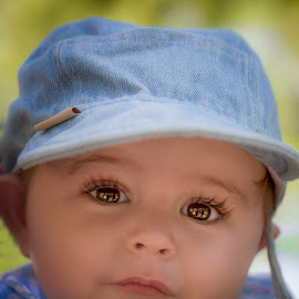 Fancy coming for a walk? by Laura Prieto - Babies & Children Babies ( cute baby boy, blue, baby boy with cap, baby big eyes, baby boy, boy )