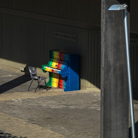 Sing a Rainbow by Sean Heatley - City,  Street & Park  Street Scenes ( homeh, south australia, peaceful, piano, street, artistic, adelaide, public, city, shapes )