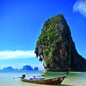 Long Tail at Phra Nang by Brent Huntley - Landscapes Waterscapes ( brentsfavoritephotos.blogspot.com, relax, thailand, beach, long tail, revive, tranquil, nature, emotions, forests, earthly, green, jade, mood, scenic, boat, phra nang, relaxing, trees, meditation, tranquility, natural, renewal, the mood factory, inspirational,  )