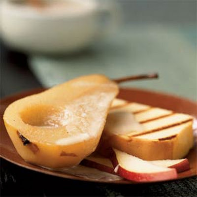 Chai-Spiced Bosc Pears with Pound Cake