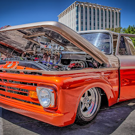 Blacktop Nationals - Red Chevy Truck by Ron Meyers - Transportation Automobiles