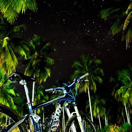 Biking under the stars by Gatot Sulistyawan - Transportation Bicycles