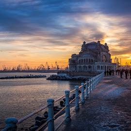 Constanta Casino by Adrian Ioan Ciulea - Buildings & Architecture Other Exteriors ( building, cranes, sky, waterscape, sunset, sea, casino, old building, sun,  )