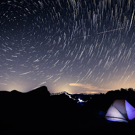 Linville Star Trails by Serge Skiba - Landscapes Starscapes ( exposure, unique, gorge, way, north, long, landscape, space, north carolina, exploring, science, tranquil, camp, sky, nature, camping, timelapse, rotation, trail, dark, tent, harmony, astrophotography, trails, motion, evening, linville, moving, twilight, star, universe, astronomy, backpacking, wilderness, stars, serene, peace, night, tranquility, milky, starry )