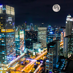 Moon City by Chandra Irahadi - City,  Street & Park  Night ( urban, lifestyle, city, city at night, street at night, park at night, nightlife, night life, nighttime in the city, mood factory, color, lighting, moods, colorful, light, bulbs, mood-lites,  )