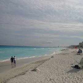 Cancun, Mexico by Lori Rider - Landscapes Beaches ( clouds, water, sand, sky, mexico, beach )