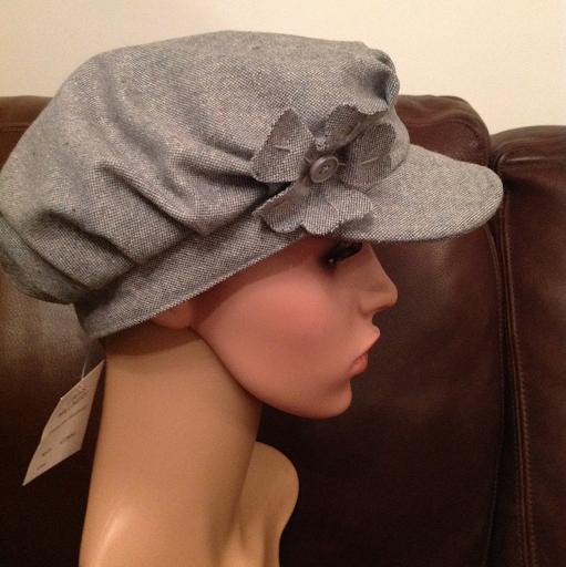 Grey mix baker boy hat