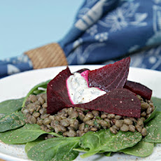 Lentil Salad with Baked Beets, Spinach and Yogurt-Mint Dressing