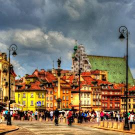 Warsaw by Piotr Owczarzak - City,  Street & Park  Street Scenes ( warszawa, hdr, polska, colors, old city, castle square, warsaw, poland )