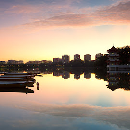 Jurong Lake Sunrise by Chester Chen - City,  Street & Park  City Parks ( water, urban, orange, reflection, pagoda, boats, sunrise, morning, glow, chinese, early )
