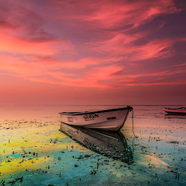The God's light serenade by Ade Irgha - Transportation Boats ( clouds, reflection, sky, beach, boat )