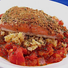 Moroccan Spiced Salmon over Lentils