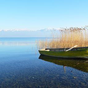 Winter boat by Olsi Belishta - Novices Only Landscapes ( pogradec, reflection, lake, albania, boat )