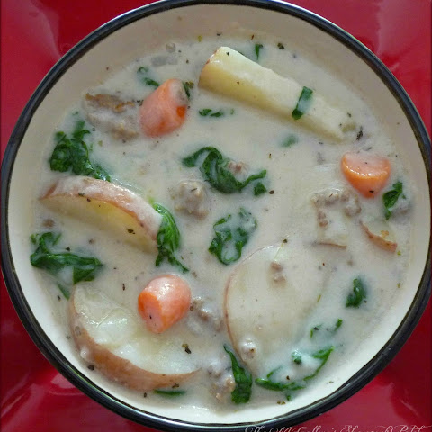 Potato & Spinach Soup with Italian Sausage