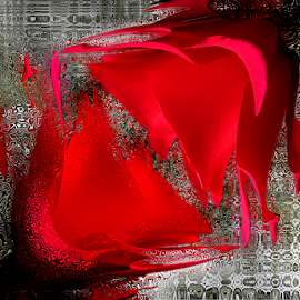 DOUBLE  by Carmen Velcic - Digital Art Abstract ( twinn, abstract, red, roses, double, flowers, digital )