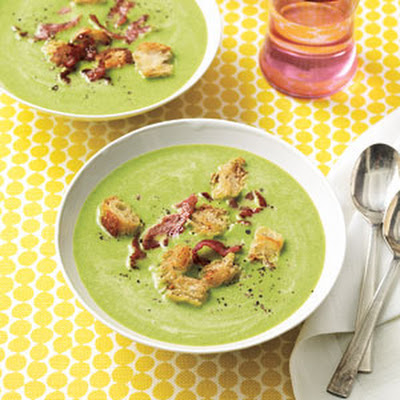 Spring Pea Soup with Frizzled Ham