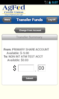 Screenshot of AgFed Credit Union Mobile
