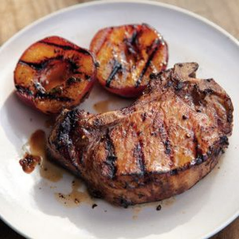 Brined Pork Chops with Grilled Stone Fruit