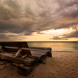 Sand and Chair by Yossy Ryananta - Landscapes Weather ( chair, sand, warm, sunset, long exposure, beach, slow shutter,  )