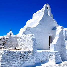 white & blue  by Georgios Kalogeropoulos - Buildings & Architecture Other Exteriors ( building, church, blue, greece, white, island )