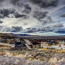 Stormy Mountain City by Jeff Harmon - Landscapes Cloud Formations ( clouds, stormy, mountains, landscape )