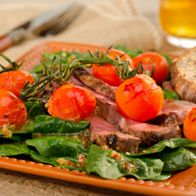 Spinach Salad With Pan Roasted Sirloin And Vine Tomatoes