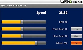 Screenshot of Bike Gear Calculator Free