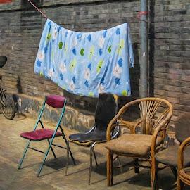 Laundry by Barb Hauxwell - Digital Art Things ( bike cart, chairs, socks, laundry, wall, alley, china )