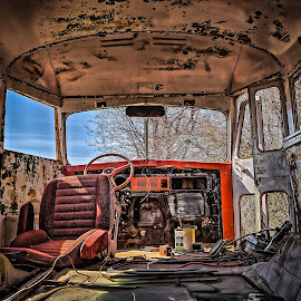 School Bus Salvage by Ron Meyers - Transportation Automobiles