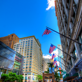 Chicago Street by Sean Price - City,  Street & Park  Street Scenes ( flags, hdr, wide angle, shopping, chicago )