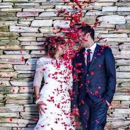 Shower of petals by Helen Kudrya-Marais - Wedding Bride & Groom ( love, rose, red, moment, beautiful )