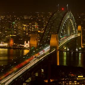 Sydney Harbour Bridge by Ajay Sood - Travel Locations Landmarks ( pwcflags, pwclandmarks, traffic, australia, harbourbridge, night, travelure, cityscape, sydney, travelography, city )