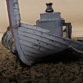 dry land by Paul Scullion - Transportation Boats ( water, old, sea, pebbles, beach, fishing, boat )