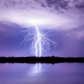 Purple rain and lightning by Craig Eccles - News & Events Weather & Storms