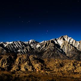 Moonlight Sierras by Ken Wade - Landscapes Mountains & Hills ( alabama hills, sierra nevada, owens valley, lone pine california, moonlight, starscape )