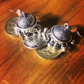 Earrings on English Pounds by Julianne Statnick - Artistic Objects Jewelry