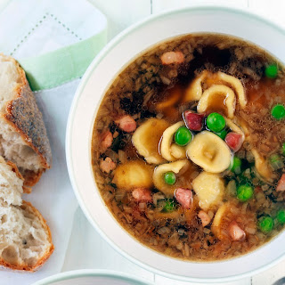 Chicken Soup With Orecchiette, Pancetta And Peas