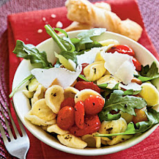 Orecchiette with Roasted Peppers, Arugula, and Tomatoes