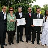 Os laureados, diplomatas portugueses e Diva Pavesi, Delegada da Academia (à direita)