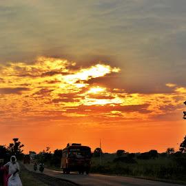 Twilight Travel  by Anoop Namboothiri - Landscapes Travel ( clouds, sunset, twilight, anoop namboothiri, travel, vehicles, roads,  )