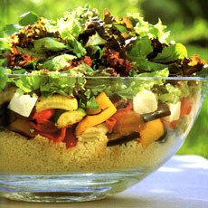 Roasted Vegetable Couscous Salad with Harissa-style Dressing