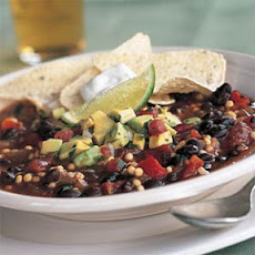 Quick Vegetarian Chili with Avocado Salsa