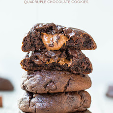 Caramel-Stuffed Quadruple Chocolate Cookies