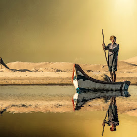 WaterLand by Parthi Thi - People Street & Candids ( water, sand, reflection, waterscape, boat, backlighting, people, sun, photography, photographer, sunrise, fisherman, river, photoshop )